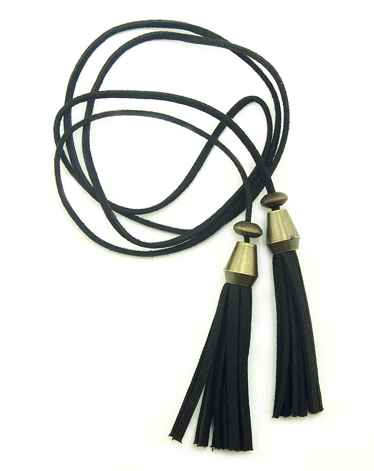 HAND Pretty Black Suede Double Tassel Thong Loop With Vintage Gold Trim for Garment, Hat, Bag and Accessory Decoration - Perfect As Necklace