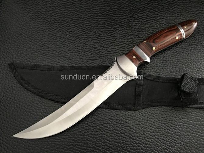 3Cr13Mov Stainless Steel Blade Rosewood Wooden Handle Sculpture Finish Fixed Blade Knife WIth Nylon Sheath