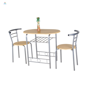 Home pub use metal frame wood top 3 piece bistro dining table chairs set