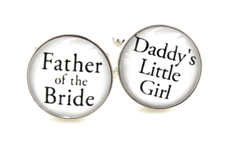 Father of the Bride...Daddy's Little Girl - Cuff Links Mens Cufflinks Wedding Father of the Bride Groomsmen Black silv