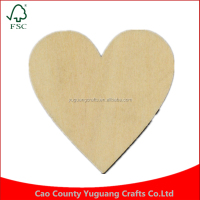 60pcs/bag 70mm Blank unfinished Wedding decoration wooden heart crafts wood supplies