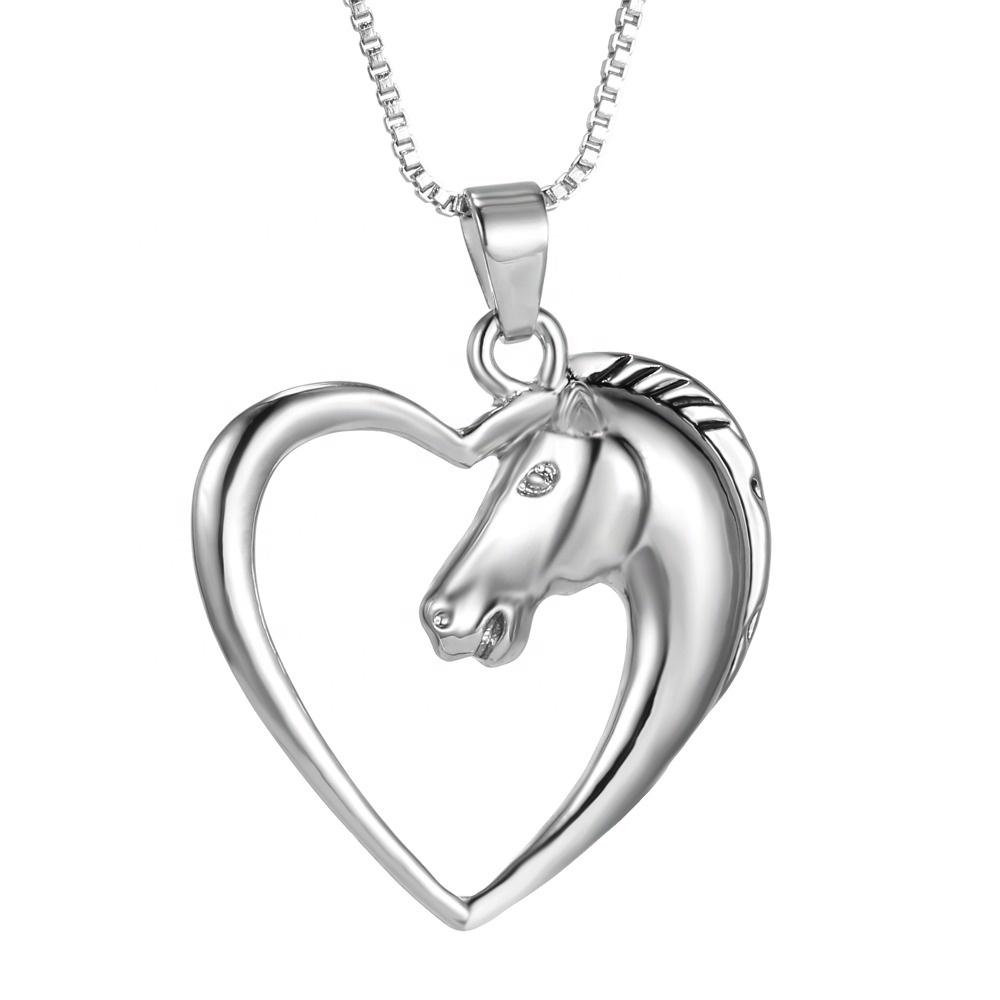 New Horse Runnin Shape Love Silver Pendant Necklace