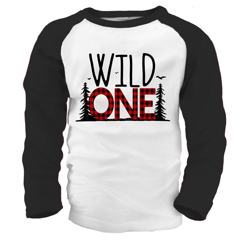 Get Quotations · Zoey s Attic First Birthday Wild One Shirt - Wild One  Buffalo Plaid 1st Birthday Raglan Shirt cba64ac2a