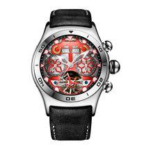 Мужские спортивные часы Reef Tiger/RT, автоматические светящиеся часы из черной стали с циферблатом и стрелками, С Датой месяца, RGA703(Китай)