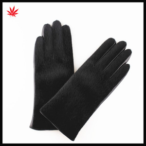 hot sale lady's motorbike leather gloves fashion horse hair black sheep leather gloves