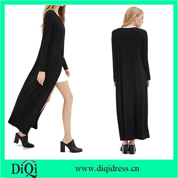 Longline Tulip-front Tops High Fashion Women Black Long Maxi Tops ...