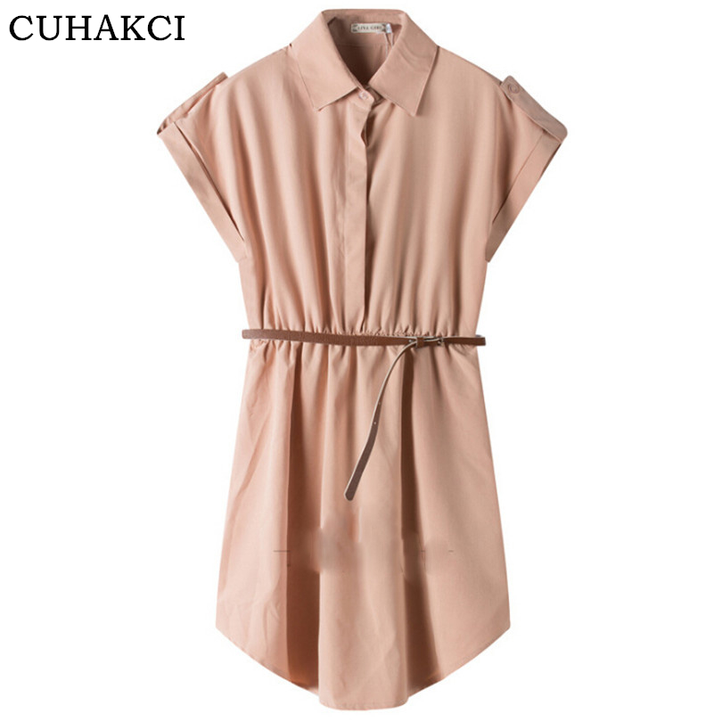 Summer Short Dress Ruffles Hem Shirt Polo Collar Camisa Wear Midi Dresses Women Clothing Free Belt
