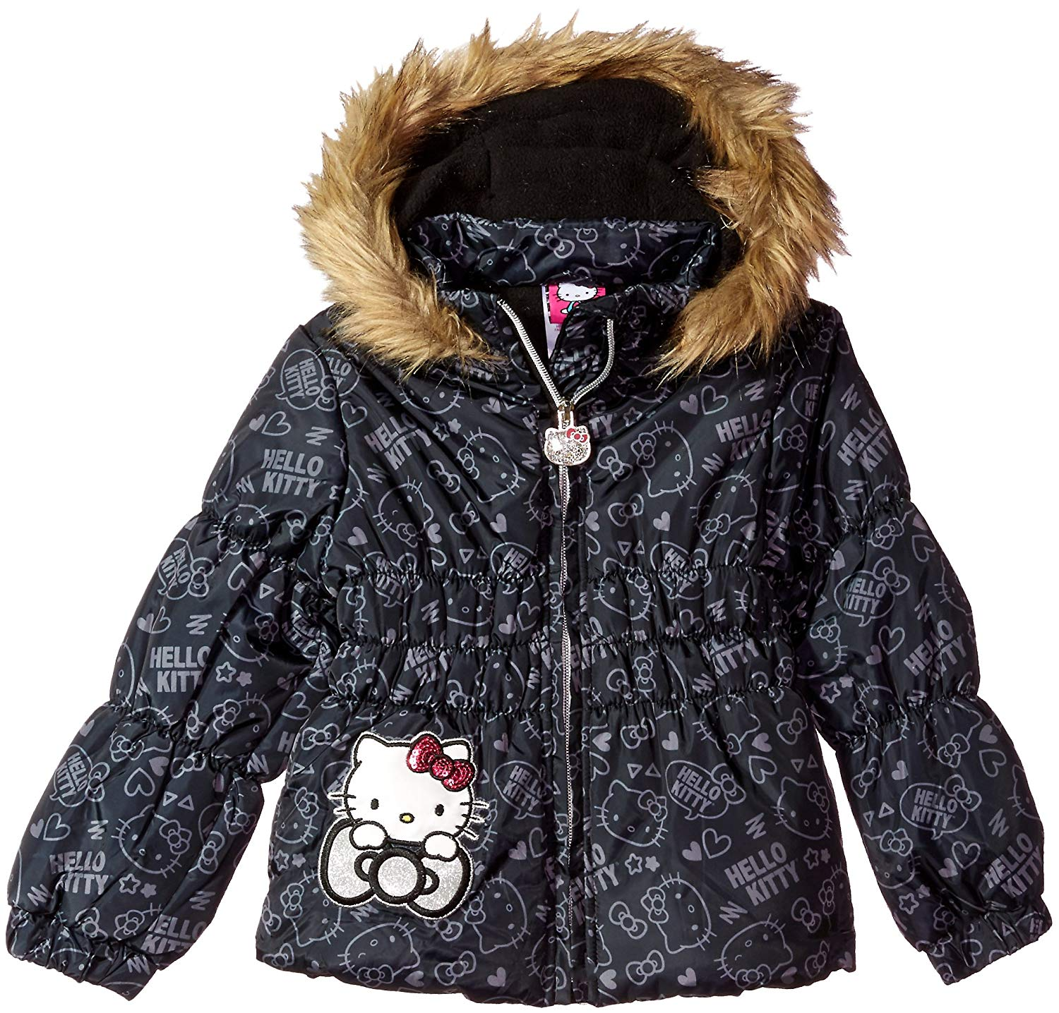 f9506acdb Get Quotations · Hello Kitty Girls' All Over Printed Puffer Jacket With Fur  Trim Hood
