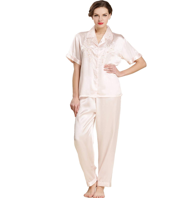 623d58fb52 Get Quotations · LoveSilk Women s Pure Silk Shortsleeve Pajamas Sleepwear  PJS Gift