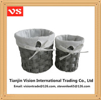 Grey home use waste paper woven craft waste baskets desktop waste baskets with liners