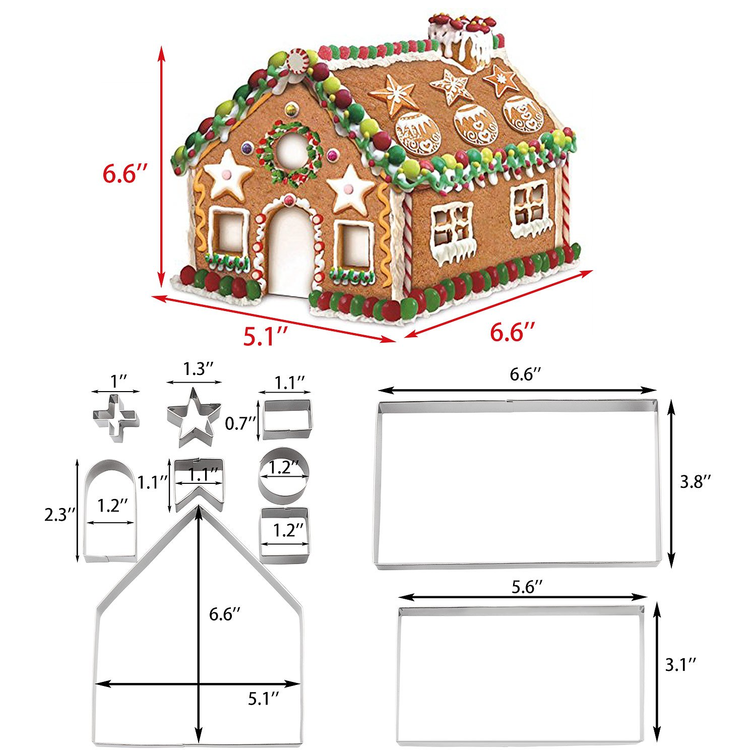 Christmas Cookie Cutters Set - 3D Christmas Cookie Cutters for Holiday Winter &Christmas Cutters Kit ,Gift Box packaging (10 Piece Gingerbread House Cookie Cutters)