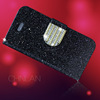Hot selling shiny powder luxury glitter rhinestone bling protective flip cover for iphone5