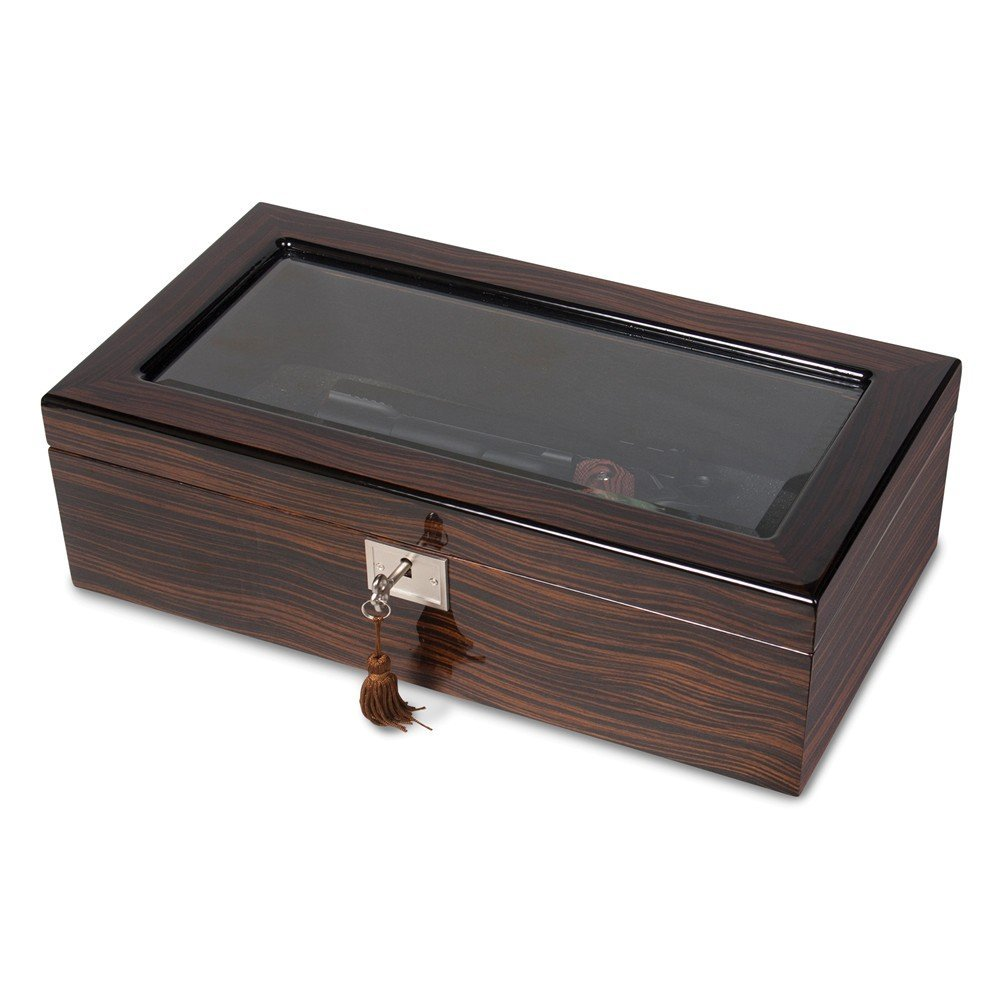 Saris and Things Ebony Wood Veneer High Gloss Finish Glass Window Multi Use Locking Box