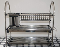 3 tiers stainless steel kitchen dish rack