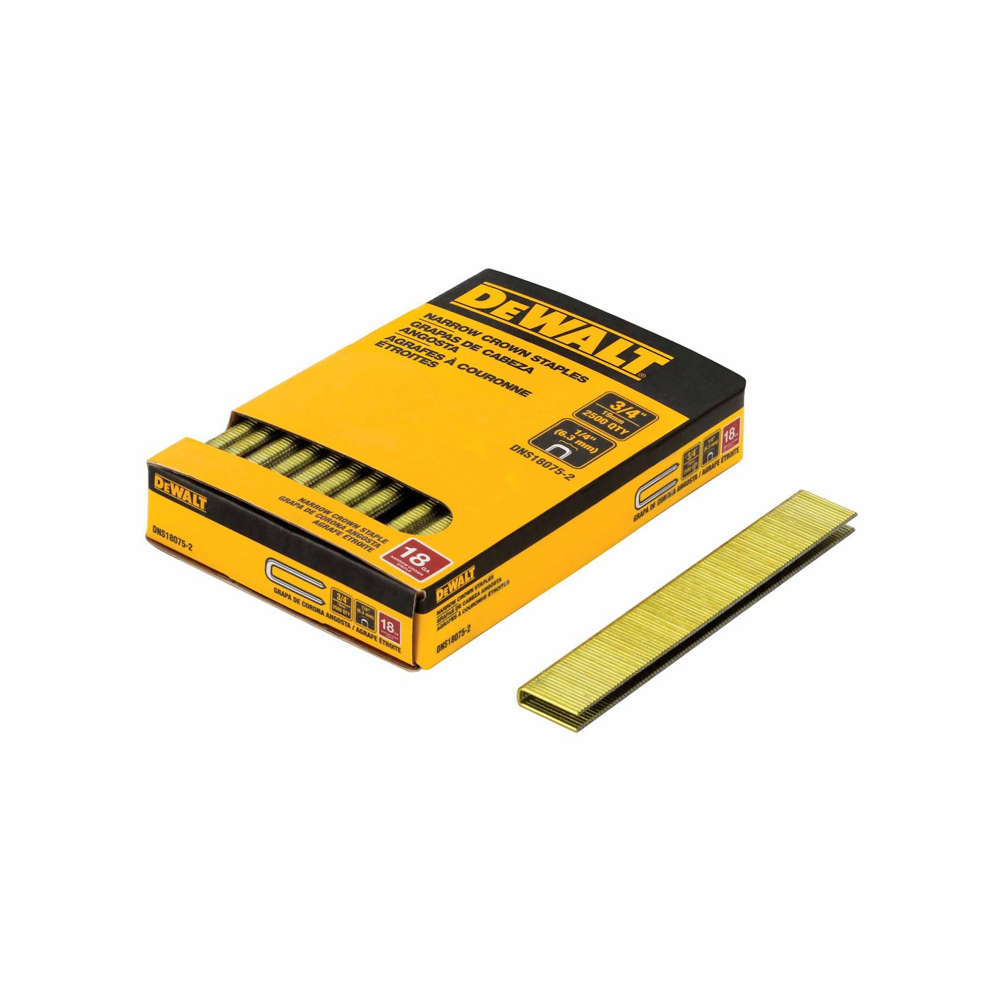 DeWalt DNS18075-2 3/4-inch 18-gauge 1/4 Crown Staple (2,500 per Box)
