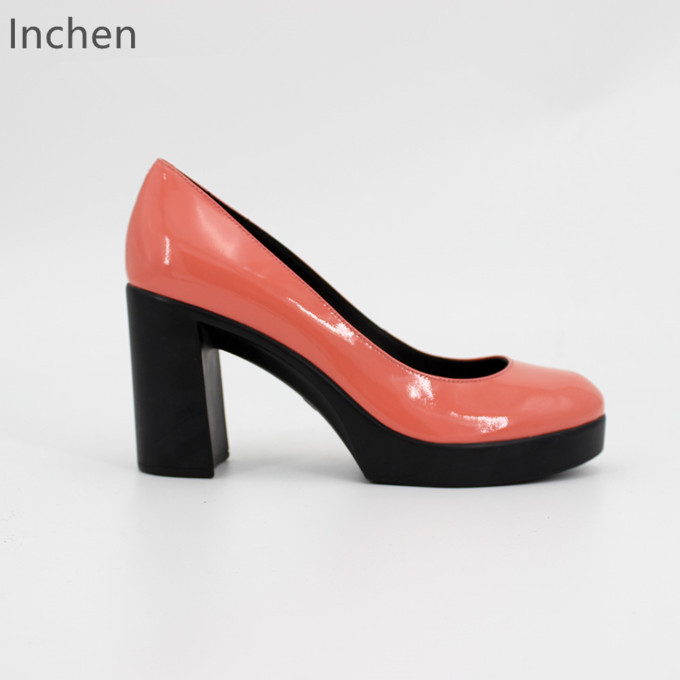Genuine leather ladies shoes patent leather pumps high heel platform thick heel elegant dress shoes wedding pink bridesmaid