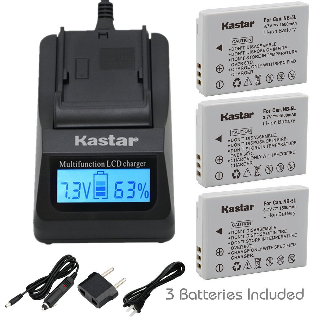Kastar Fast Charger + NB-5L Battery (3-Pack) for Canon PowerShot S100, S110, SD700, SD790, SD800, SD850, SD870 IS, SD880, SD890, SD900, SD950, SD970, SD990 IS, SX200 IS, SX210 IS, SX220 IS, SX230 HS