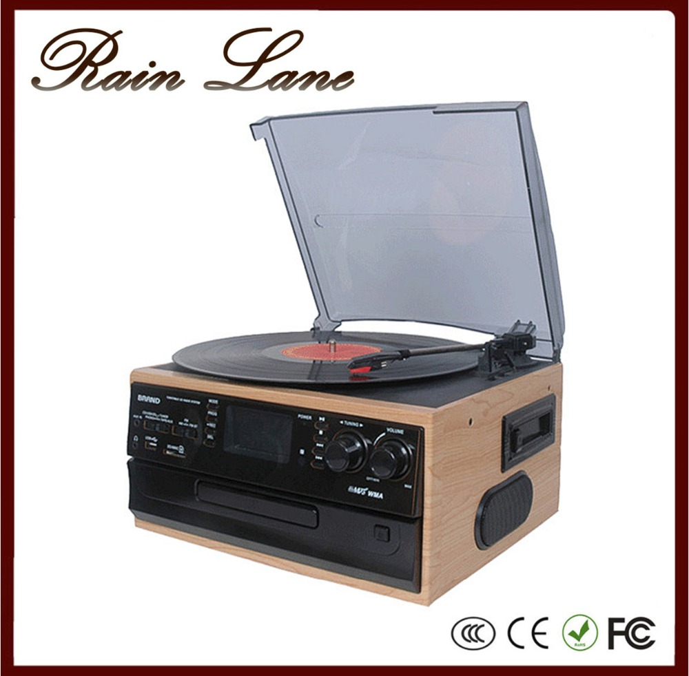 Rain Lane Retro Phonograph Jukebox Cassett Player Music Vinyl Records With Small Remote Controller