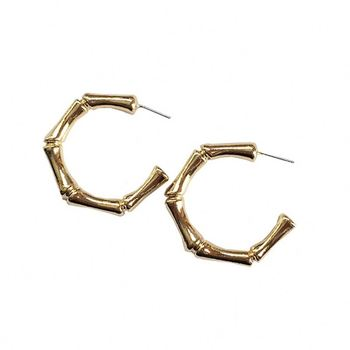 Wholesale Jewelry Women 925 Silver Small Gold Bamboo Hoop Earring