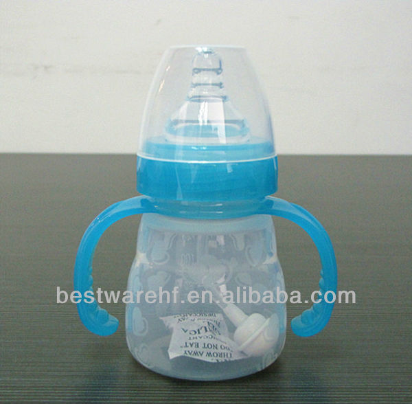 Mini FDA liquid silicone baby bottle with handle and cover and nipples