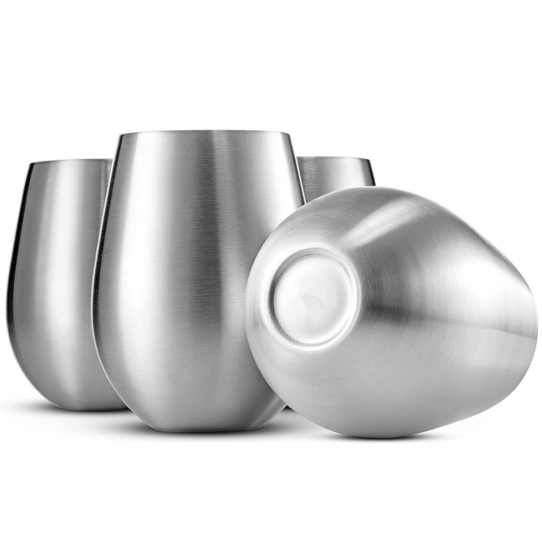 FixtureDisplays Set of 4 Stainless Steel Wine Glasses Large Stemless Goblets(18 oz), Unbreakable, Shatterproof Metal Drinking Tumblers 16929-4PK-NF
