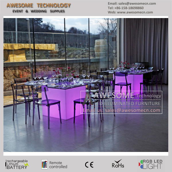 Acrylic Pedestal Glass Table Bases With Led Lighting