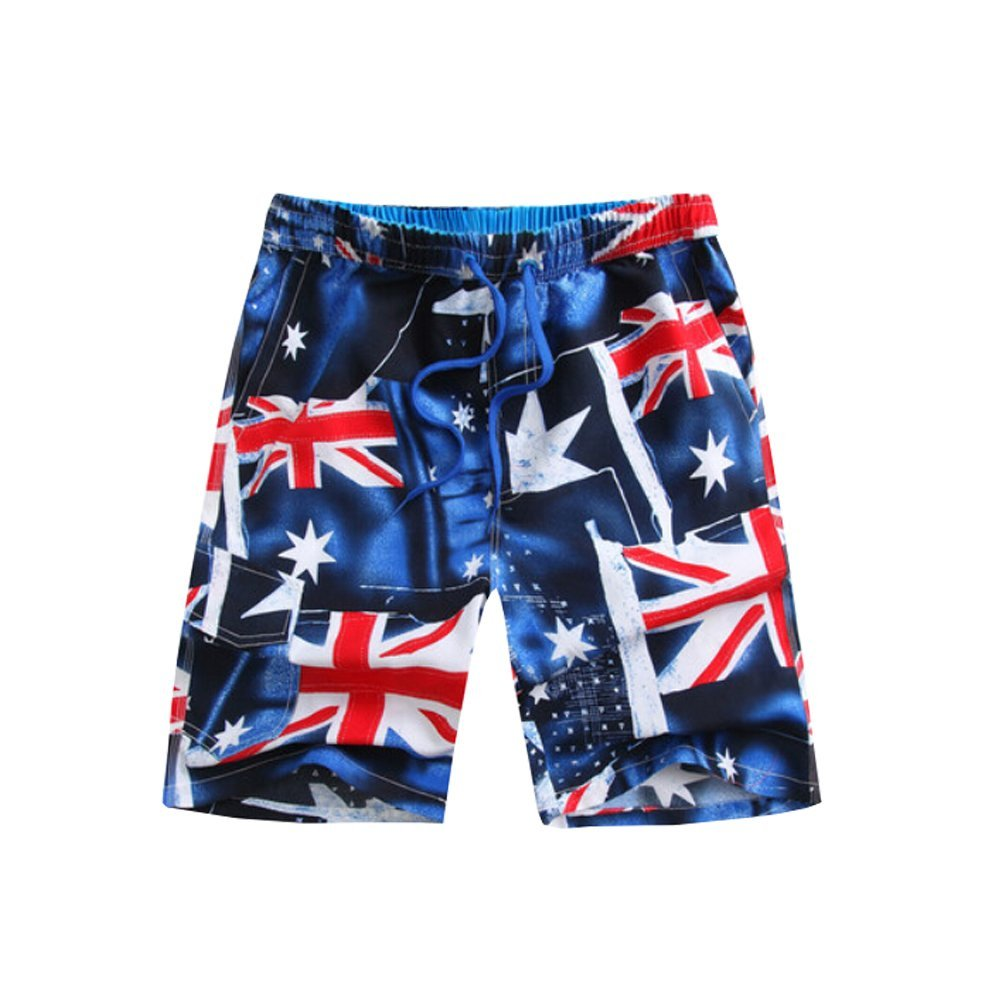 KIOT156 Thin Blue Line USA Flag Mens Summer Breathable Swim Trunks Beach Shorts Cargo Shorts