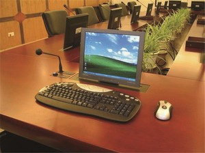 Conference System Pop Up Screen Table Mechanism