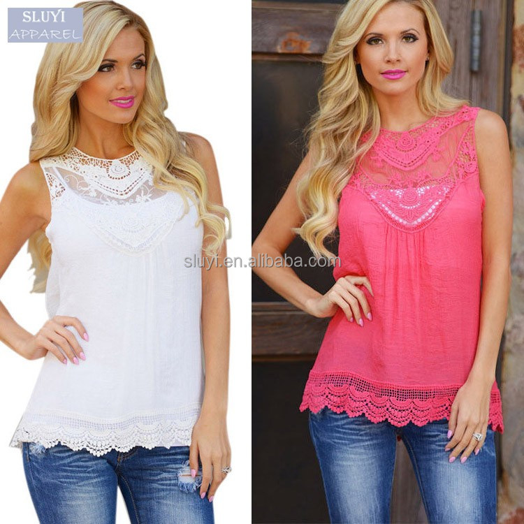 ladies tops latest design Crochet Hollow T Shirt 2017 Fashion fancy sleeveless tops women indian blouse designs