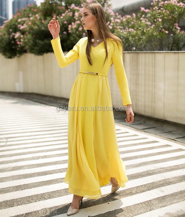 1f7314780a2 2015 Neck design long sleeve maxi casual chiffon dress muslim women islamic
