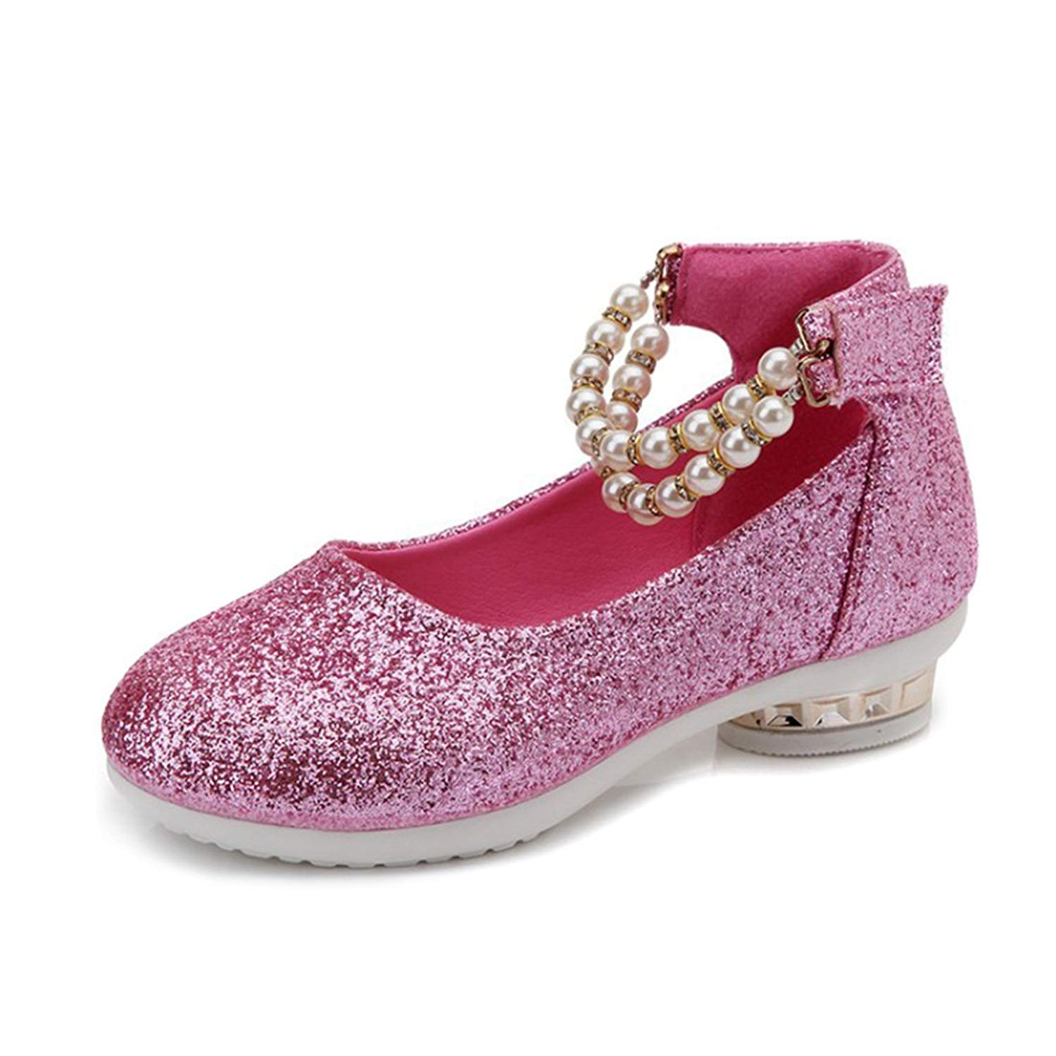 YIBLBOX Girls Kids Toddler Dress up Cosplay Princess Wedding Shoes Mary Jane Low Heel Shoes for Girls