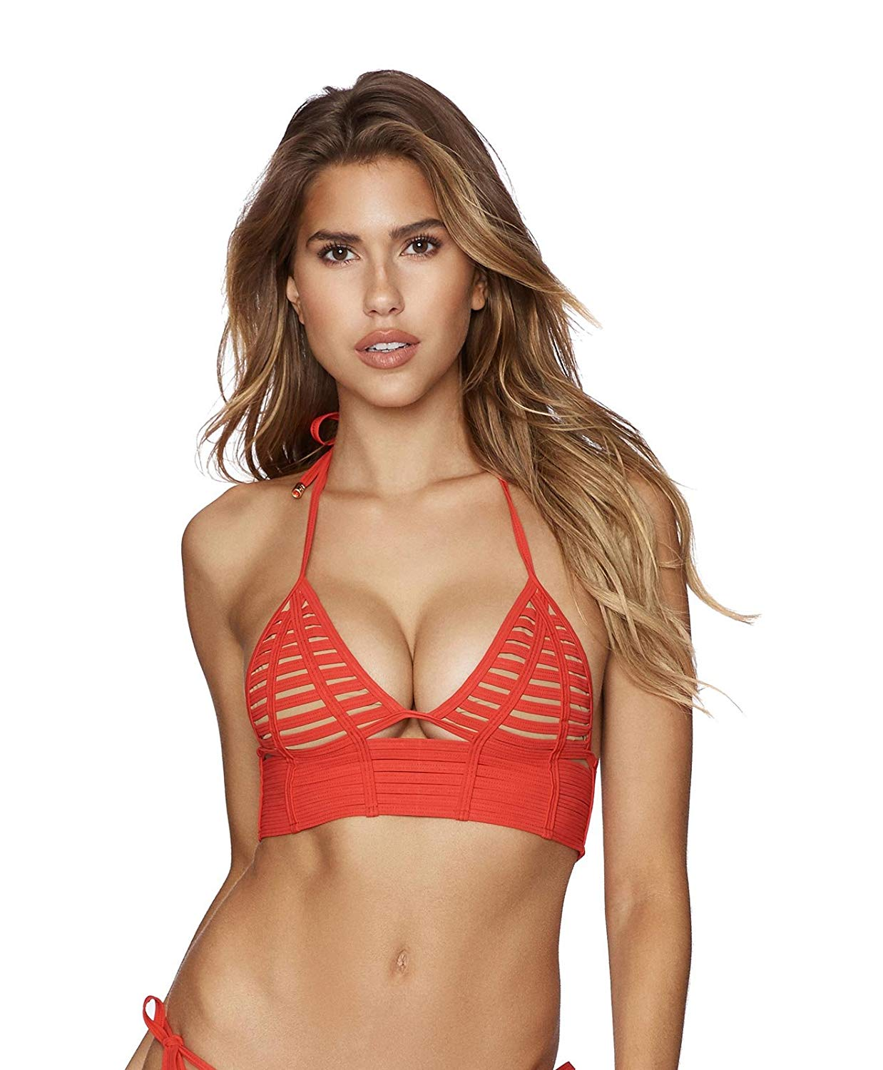 77a203a6b12 Get Quotations · Beach Bunny Swimwear Hard Summer Long Line Bralette  Triangle Top Bikini Red