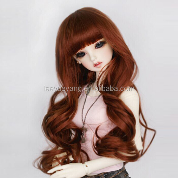 long silky straight wavy burgundy doll wig with heat resistant fiber