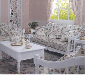 2015 cozy country style sofa is made by imported rubber wood and print fabric for living room
