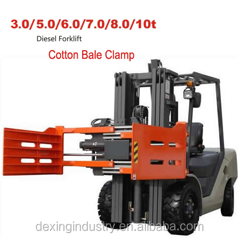 China New Forklift with Cotton Bale Clamp Triple Mast for Sale