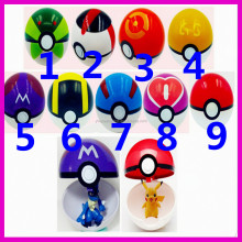 9 Pieces Plastic Super Anime Figures Balls for Pokemon Kids Toys Balls, 1Pcs Pokeball + 1pcs Free Random Pokemon Figures