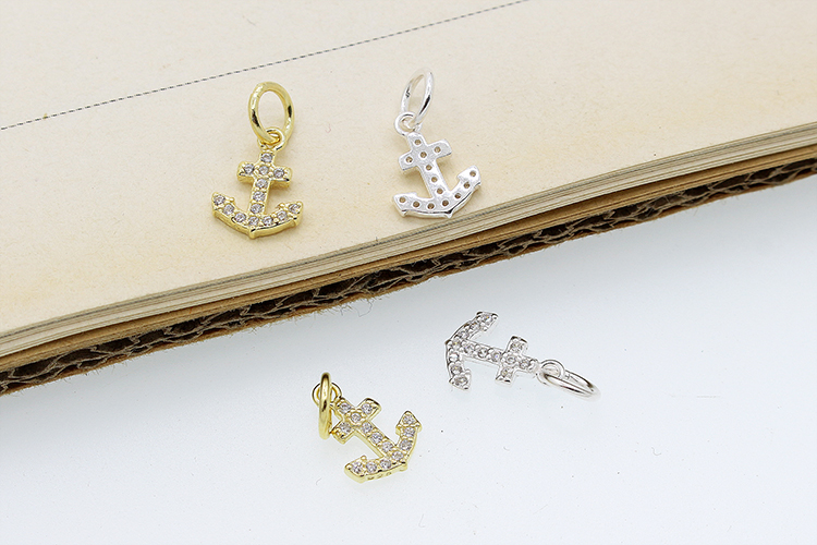 Wholesale jewelry making accessory anchor and deer head shape 925 sterling silver CZ pendant