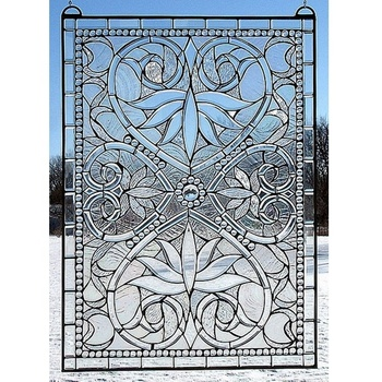 High quality white colours stained glass window decor art glass