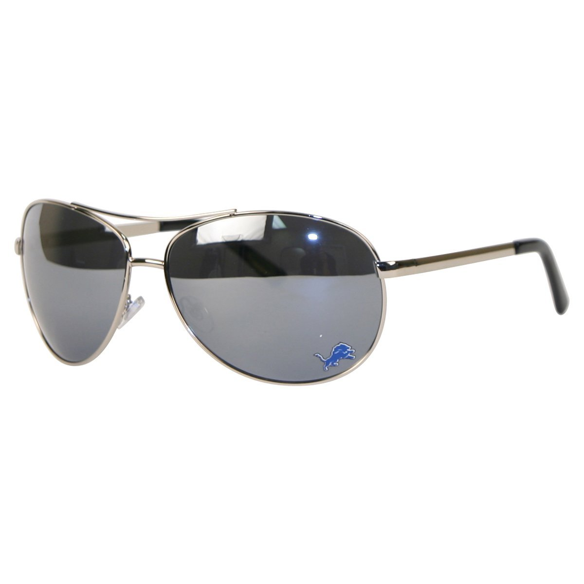 NFL Team Logo Spring Hinged Mirrored Aviator Sunglasses - Detroit Lions