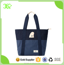 Latest Design Promotional Canvas Dot Tote Bag Leather Lady Handbag Women