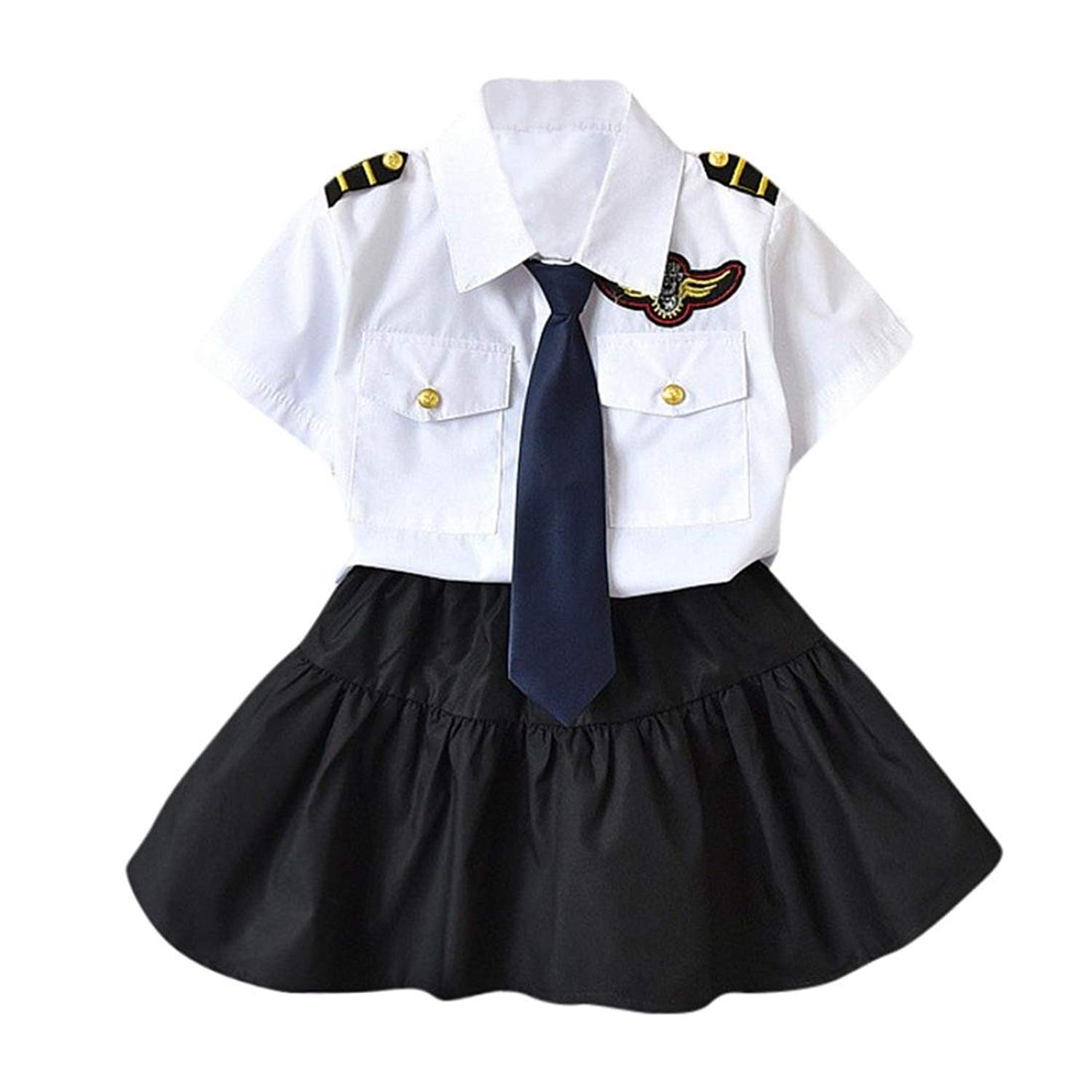 WARMSHOP Girls Boys Short Sleeve Navy Style 3 Piece Playwear Set Tops T-Shirt with Necktie+Pants&Skirt Formal Clothes Set