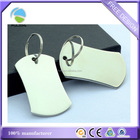 Custom Blank Dog Tag Keyring Stainless Steel Metal Polished Finish