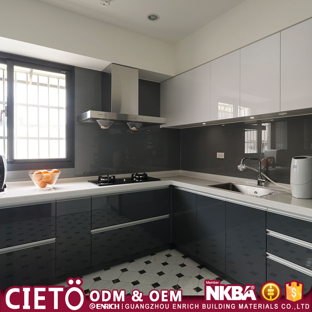 Flat pack contemporary style luxury Hotel Modular Storage black lacquer kitchen cabinet Imported from Guangzhou