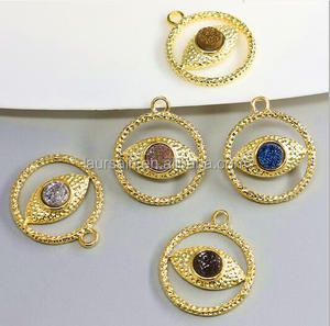 LS-D6640 Sparkly Round 14k Metal Gold Plated Jewelry With Evil Eye design Druzy Titanium Agate charm Pendant for women