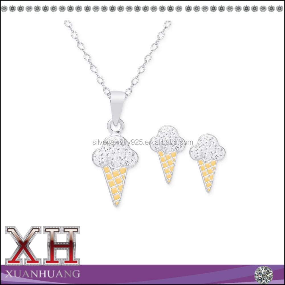 18K gold over sterling silver white cz ice cream cone jewelry set
