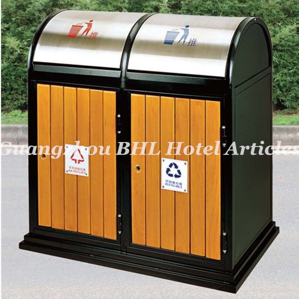 Large Capacity Wooden <strong>Waste</strong> Management Metal Outdoor recycling outdoor trash can public decorative outdoor garbage can GPX99A