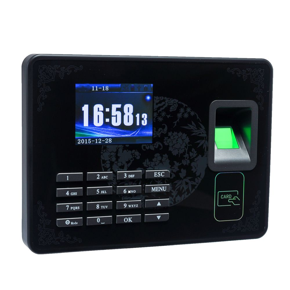 Biometric Fingerprint Password Attendance Machine Employee Checking-in Recorder TCP/IP LCD Screen DC 5V Time Attendance Clock