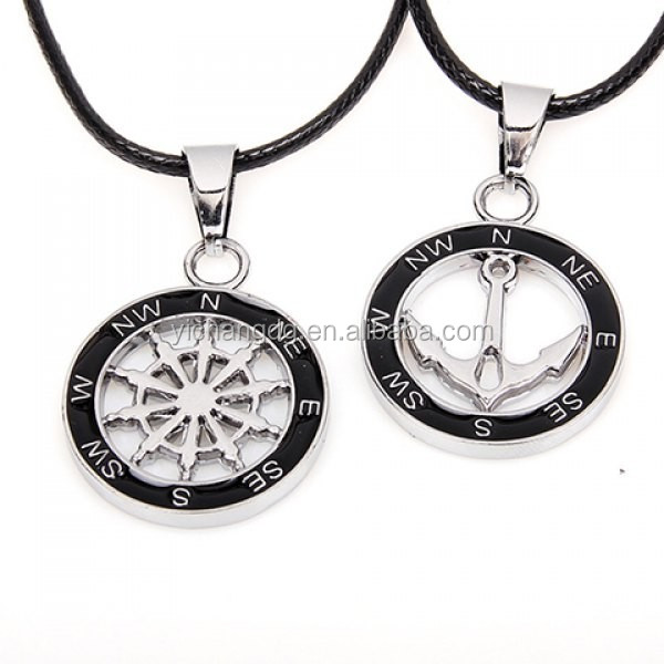 Mens and Womens Cheap 2PCS of Anchor and Helm Embellished Round Pendant Necklaces For Lovers