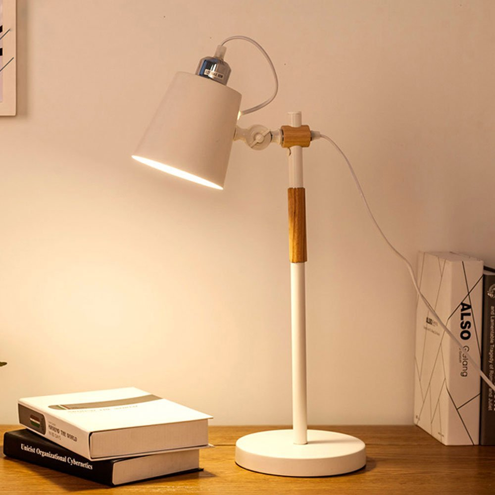 Table Lamp Simple Modern Table Lamp Hardware Wooden The Lamp Body Dimming Switch A Living Room Bedroom Study Table Lamp White 110-240V