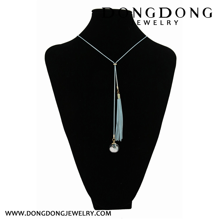 CL080 custom glass charm pendant necklace with chain tassel fashion jewelry necklace